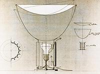 Originalzeichnung von A. und P.G. Castiglioni für die Lampe Taccia, 1962. Mit freundlicher Genehmigung von Fondazione Achille Castiglioni