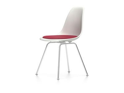 Vitra Eames Plastic Side Chair DSX Sitzschale weiss mit Sitzpolster