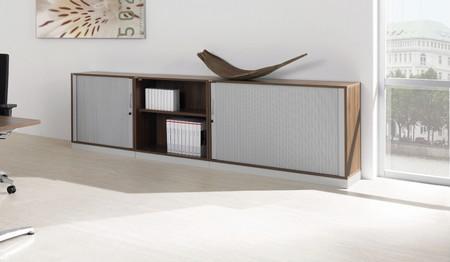 Assmann Allvia Querrolladenschrank + Aktenbock nussbaumdekor aluminiumweiß