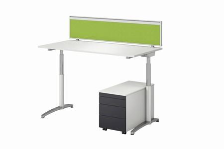 Assmann Canvaro elektronisch höhenverstellbar weiss grün mit Tischstellwand AS30