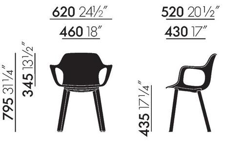 Vitra HAL Armchair Wood Maße