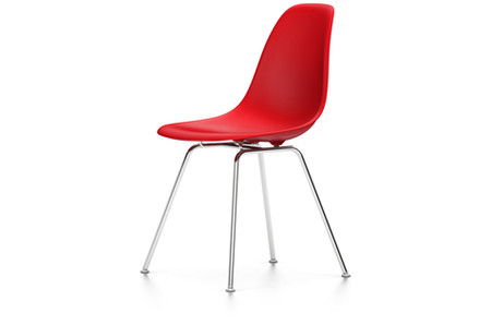 Vitra Eames Plastic Side Chair DSX UG verchromt classic rot