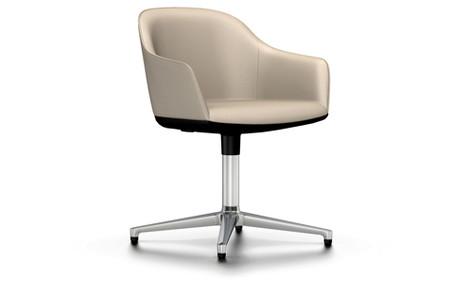 Vitra Softshell Chair Viersternfuss UG poliert  Leder sand