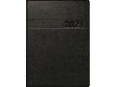 Buchkalender 796611 A5 2S/1W schwarz 7-20 UHR, 128 SEITEN, ECKPERFORATION,