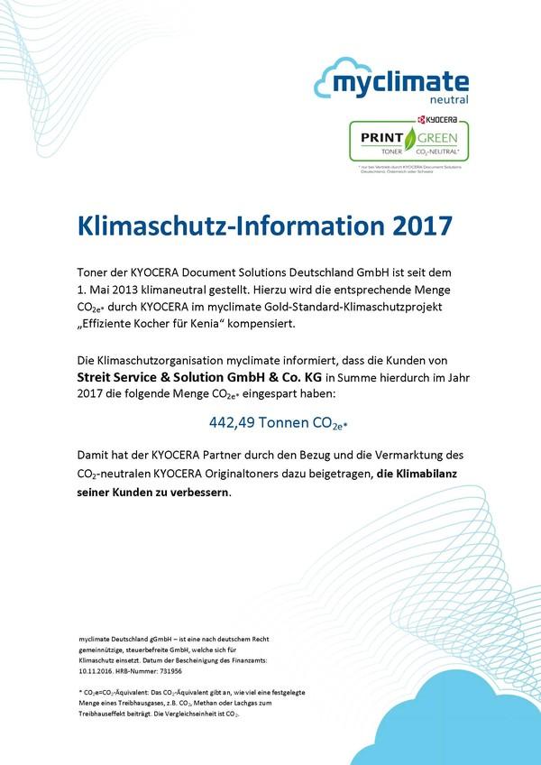 Kyocera Klimaschutzzertifikat