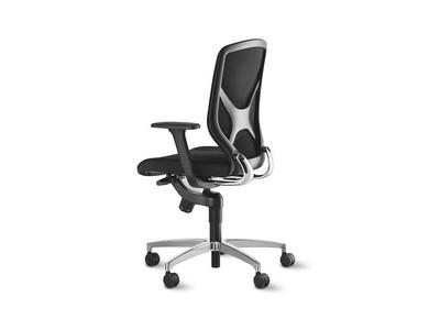 Wilkhahn IN Bürodrehstuhl Racer-Bezug schwarz mit 2D Armlehnen und Fußkreuz Aluminium