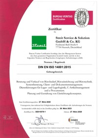 Zertifikat 14001 Streit Service & Solution DE010579-1 DE