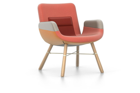 Vitra East River Chair Eiche natur Stoffmix rot