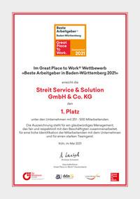 GPTW Urkunde BaWü 2021